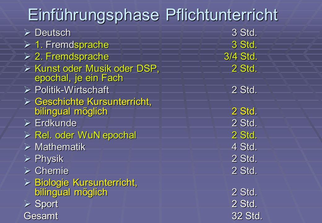 Einführungsphase Pflichtunterricht  Deutsch 3 Std.  1. Fremdsprache3 Std.  2. Fremdsprache 3/4 Std.  Kunst oder Musik oder DSP, 2 Std. epochal, je