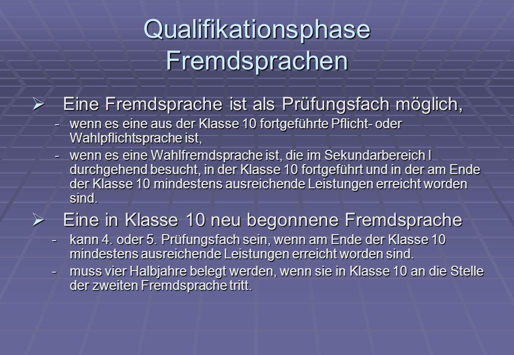 Qualifikationsphase Fremdsprachen  Eine Fremdsprache ist als Prüfungsfach möglich, -wenn es eine aus der Klasse 10 fortgeführte Pflicht- oder Wahlpfl
