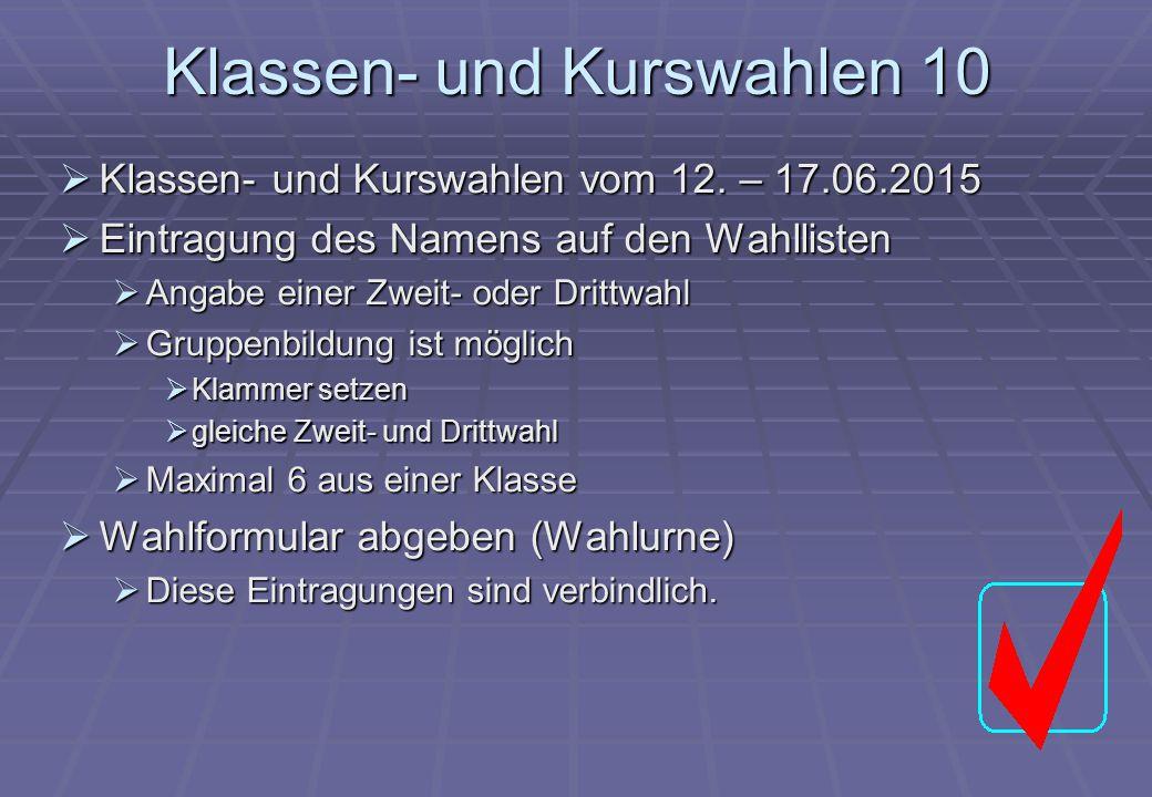Klassen- und Kurswahlen 10  Klassen- und Kurswahlen vom 12. – 17.06.2015  Eintragung des Namens auf den Wahllisten  Angabe einer Zweit- oder Drittw