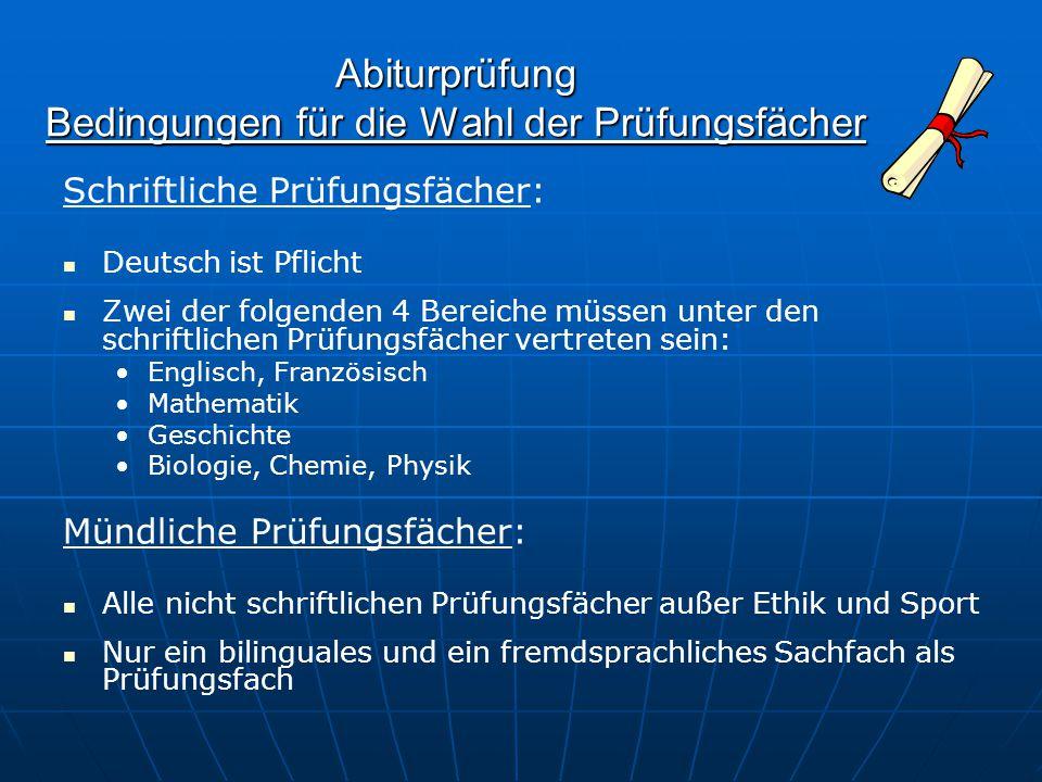 Abiturprüfung Bedingungen für die Wahl der Prüfungsfächer Schriftliche Prüfungsfächer: Deutsch ist Pflicht Zwei der folgenden 4 Bereiche müssen unter