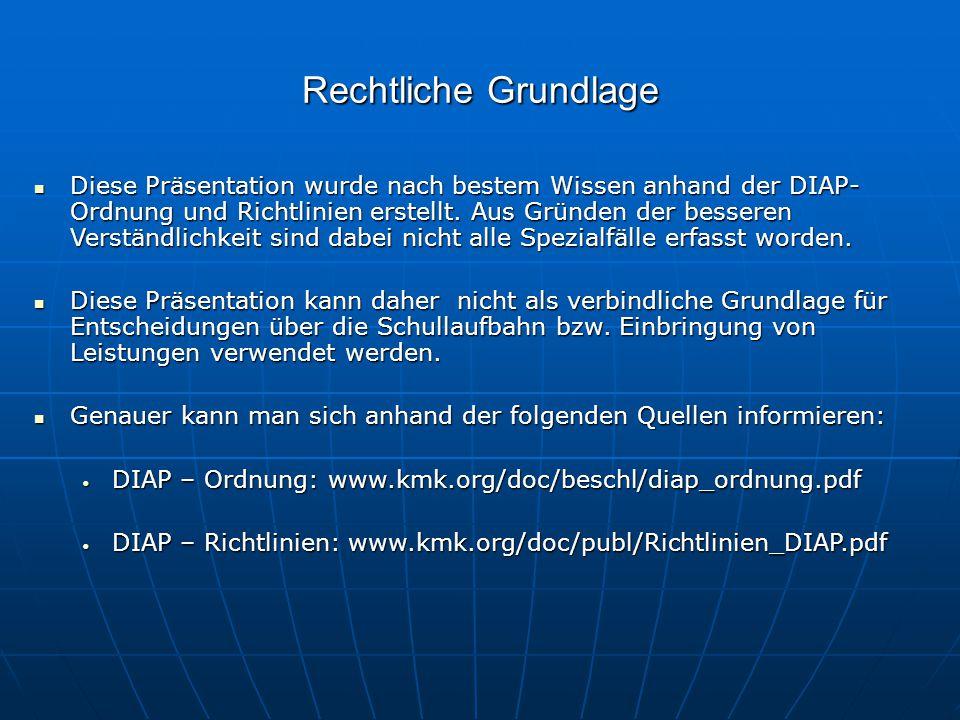 Rechtliche Grundlage Diese Präsentation wurde nach bestem Wissen anhand der DIAP- Ordnung und Richtlinien erstellt. Aus Gründen der besseren Verständl