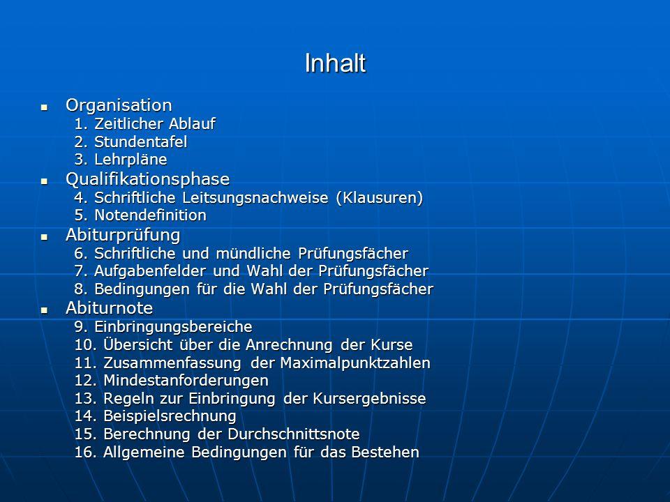 Inhalt Organisation Organisation 1. Zeitlicher Ablauf 2. Stundentafel 3. Lehrpläne Qualifikationsphase Qualifikationsphase 4. Schriftliche Leitsungsna