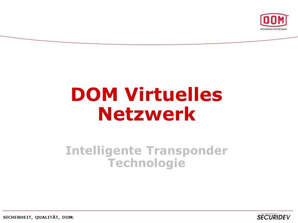 SICHERHEIT, QUALITÄT, DOM. DOM Virtuelles Netzwerk Intelligente Transponder Technologie