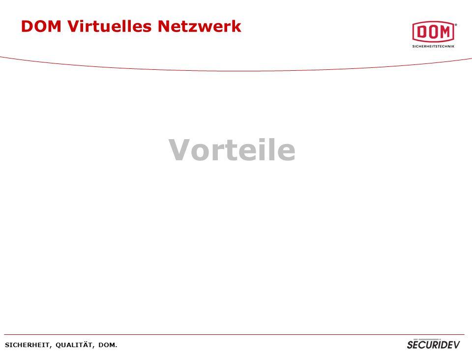 SICHERHEIT, QUALITÄT, DOM. DOM Virtuelles Netzwerk Vorteile