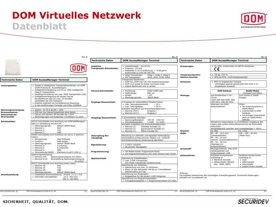SICHERHEIT, QUALITÄT, DOM. DOM Virtuelles Netzwerk Datenblatt