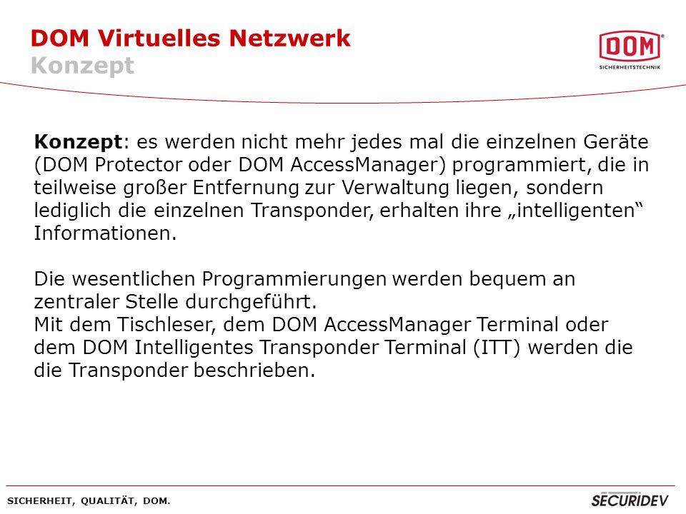 SICHERHEIT, QUALITÄT, DOM.Es kann ein sog. Nachfolgetransponder programmiert werden.