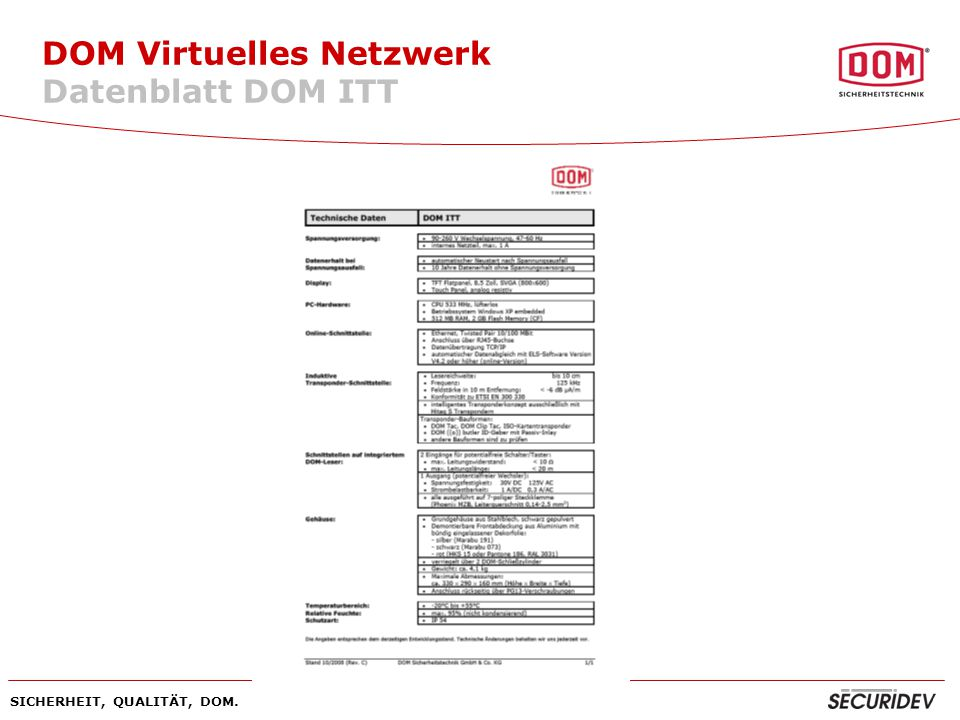 SICHERHEIT, QUALITÄT, DOM. DOM Virtuelles Netzwerk Datenblatt DOM ITT