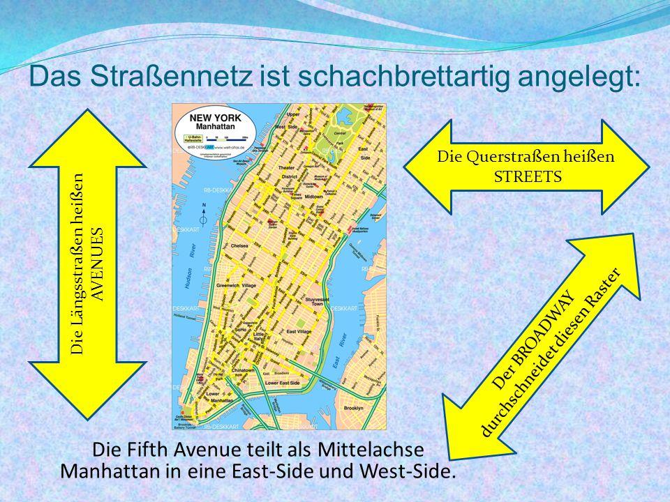 Das Straßennetz ist schachbrettartig angelegt: Die Längsstraßen heißen AVENUES Die Querstraßen heißen STREETS Der BROADWAY durchschneidet diesen Raster Die Fifth Avenue teilt als Mittelachse Manhattan in eine East-Side und West-Side.