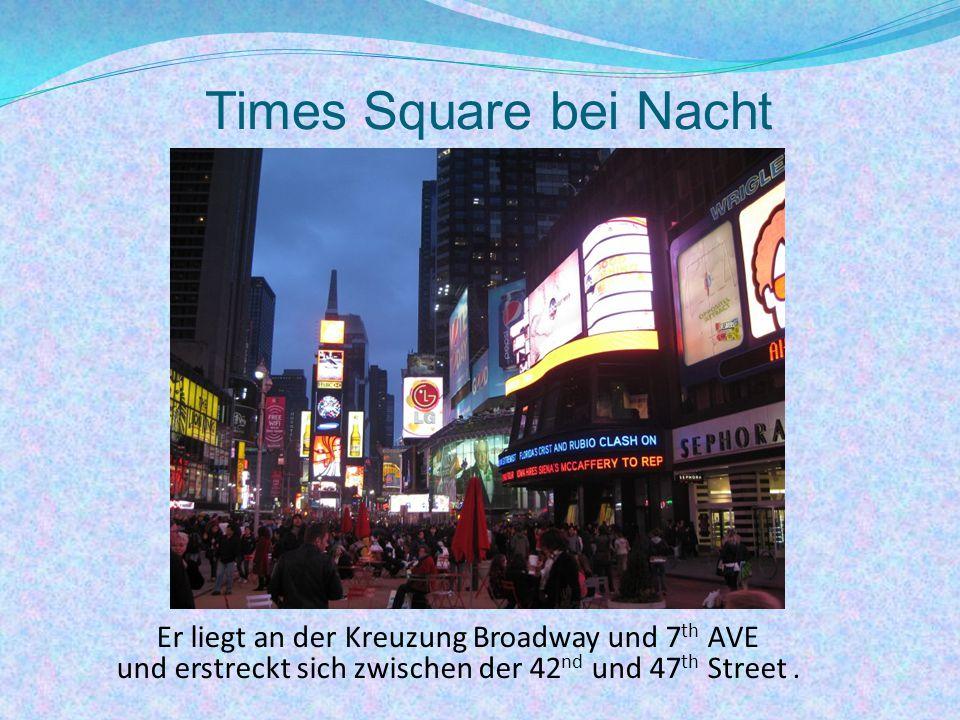 Times Square bei Nacht Er liegt an der Kreuzung Broadway und 7 th AVE und erstreckt sich zwischen der 42 nd und 47 th Street.