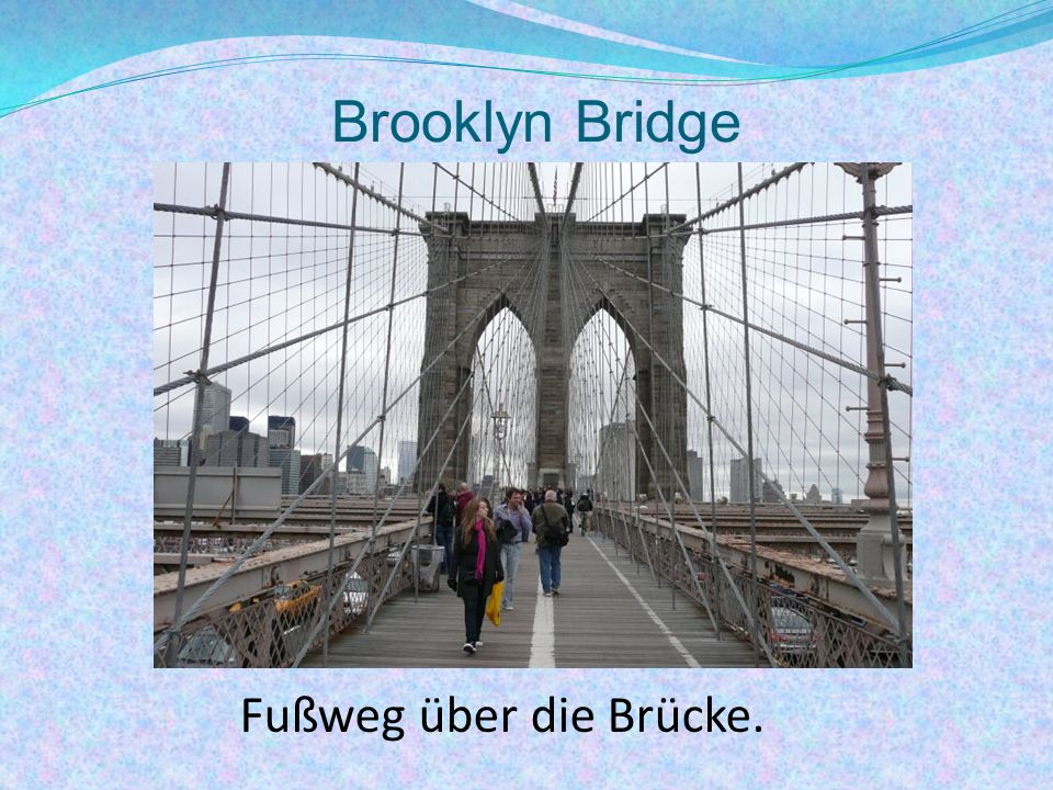 Brooklyn Bridge Fußweg über die Brücke.