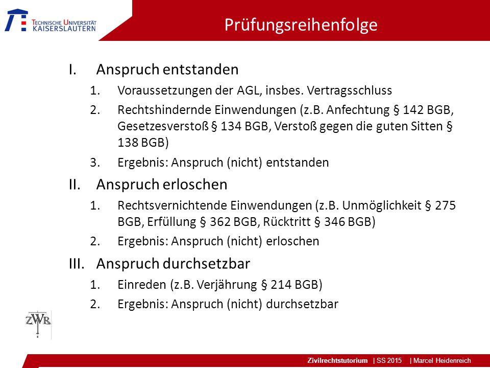 Zivilrechtstutorium | SS 2015 | Marcel Heidenreich Prüfungsreihenfolge I.Anspruch entstanden 1.Voraussetzungen der AGL, insbes. Vertragsschluss 2.Rech