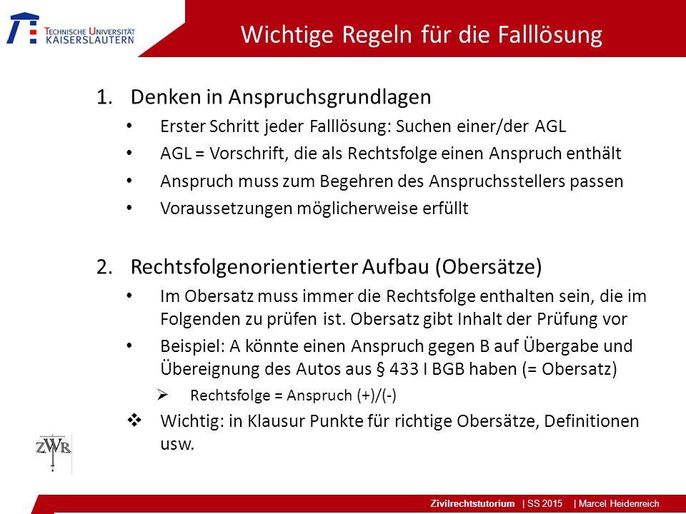 Zivilrechtstutorium | SS 2015 | Marcel Heidenreich Wichtige Regeln für die Falllösung 1.Denken in Anspruchsgrundlagen Erster Schritt jeder Falllösung: