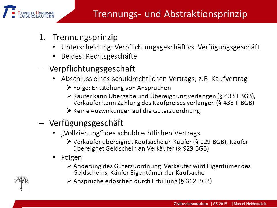 Zivilrechtstutorium | SS 2015 | Marcel Heidenreich Trennungs- und Abstraktionsprinzip 1.Trennungsprinzip Unterscheidung: Verpflichtungsgeschäft vs. Ve