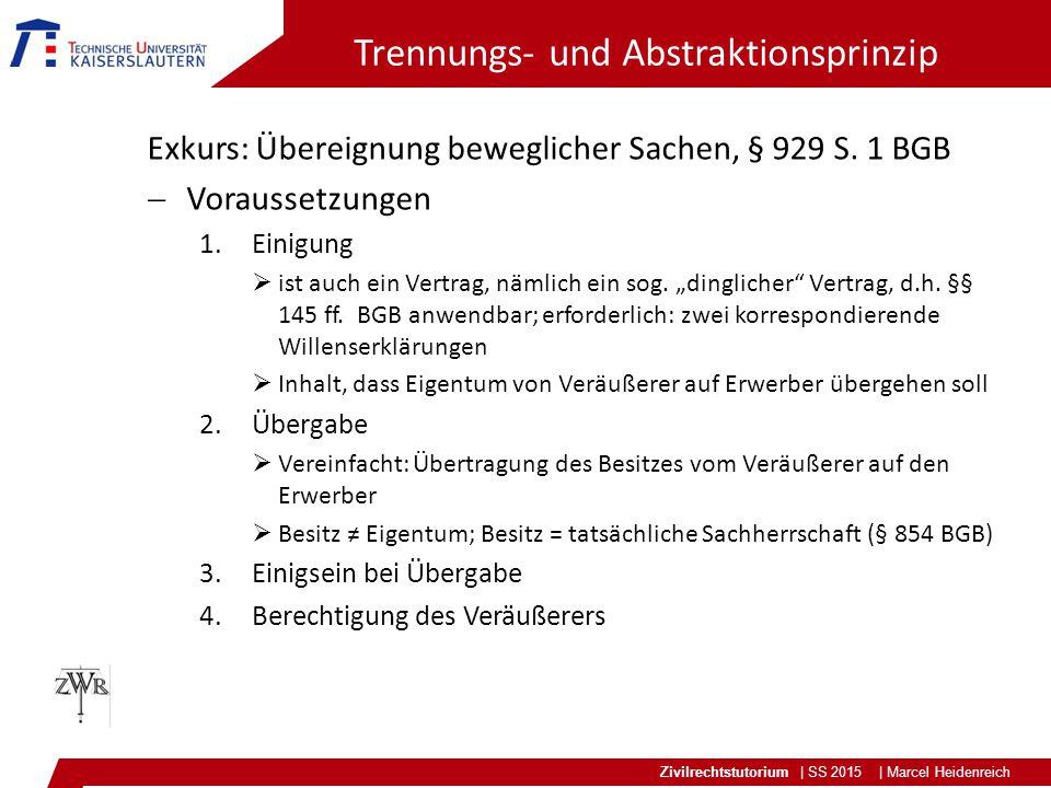 Zivilrechtstutorium | SS 2015 | Marcel Heidenreich Trennungs- und Abstraktionsprinzip Exkurs: Übereignung beweglicher Sachen, § 929 S.