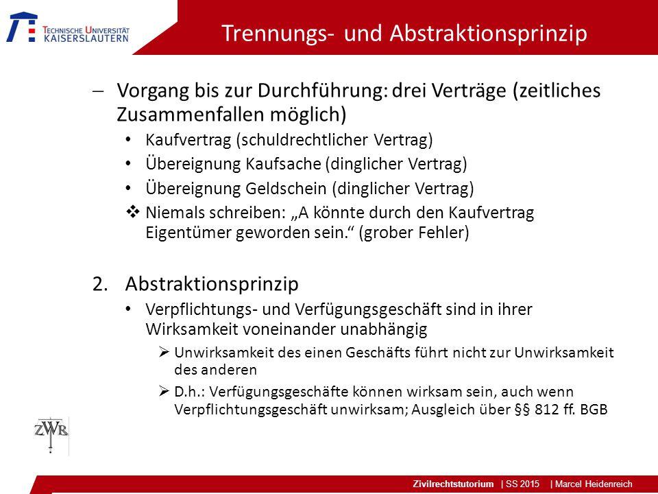 Zivilrechtstutorium | SS 2015 | Marcel Heidenreich Trennungs- und Abstraktionsprinzip  Vorgang bis zur Durchführung: drei Verträge (zeitliches Zusamm