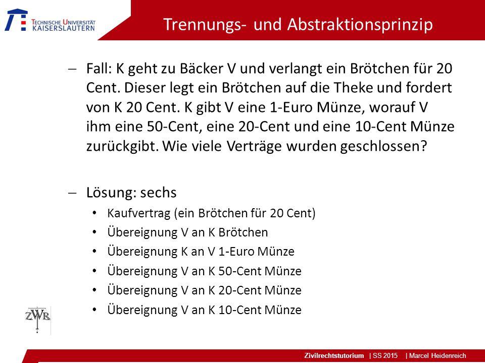 Zivilrechtstutorium | SS 2015 | Marcel Heidenreich Trennungs- und Abstraktionsprinzip  Fall: K geht zu Bäcker V und verlangt ein Brötchen für 20 Cent.