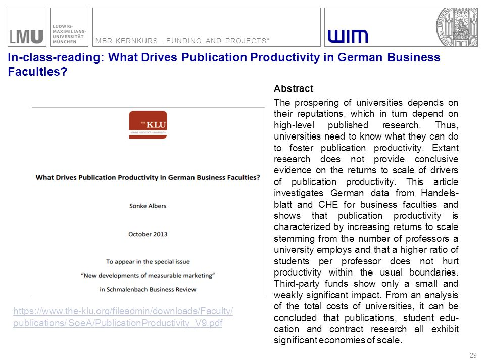 "MBR KERNKURS ""FUNDING AND PROJECTS In-class-reading: What Drives Publication Productivity in German Business Faculties."