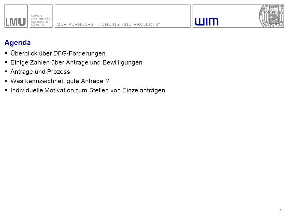 """MBR KERNKURS """"FUNDING AND PROJECTS"""" 31 Agenda  Überblick über DFG-Förderungen  Einige Zahlen über Anträge und Bewilligungen  Anträge und Prozess """