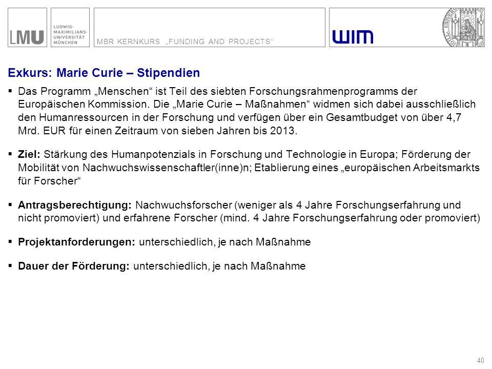 """MBR KERNKURS """"FUNDING AND PROJECTS"""" 40 Exkurs: Marie Curie – Stipendien  Das Programm """"Menschen"""" ist Teil des siebten Forschungsrahmenprogramms der E"""