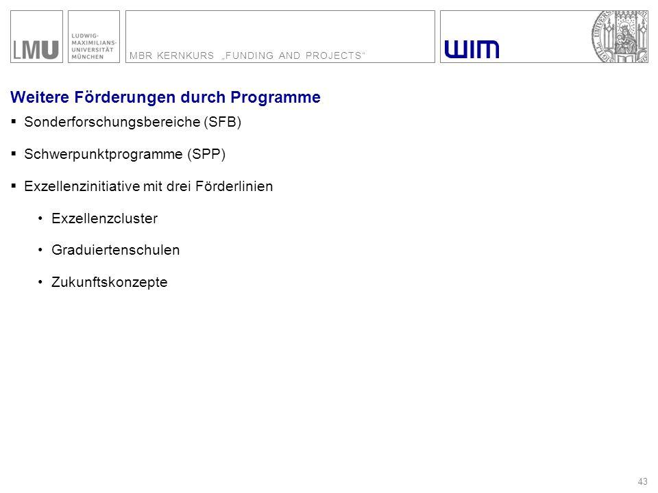 """MBR KERNKURS """"FUNDING AND PROJECTS"""" 43 Weitere Förderungen durch Programme  Sonderforschungsbereiche (SFB)  Schwerpunktprogramme (SPP)  Exzellenzin"""