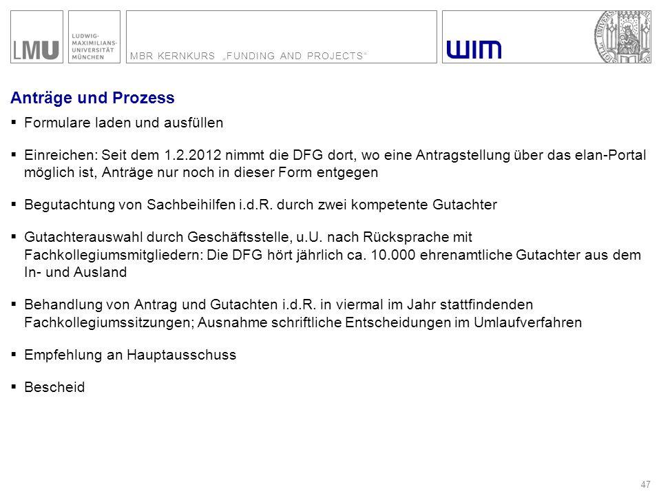 """MBR KERNKURS """"FUNDING AND PROJECTS"""" 47 Anträge und Prozess  Formulare laden und ausfüllen  Einreichen: Seit dem 1.2.2012 nimmt die DFG dort, wo eine"""