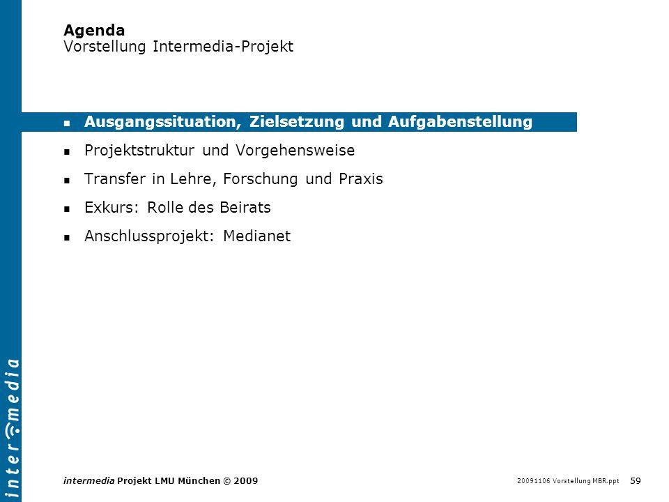 20091106 Vorstellung MBR.ppt 59 intermedia Projekt LMU München © 2009 Agenda Vorstellung Intermedia-Projekt Ausgangssituation, Zielsetzung und Aufgabe