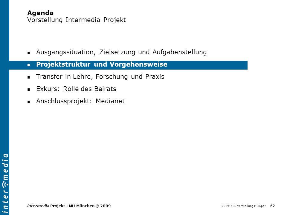 20091106 Vorstellung MBR.ppt 62 intermedia Projekt LMU München © 2009 Agenda Vorstellung Intermedia-Projekt Ausgangssituation, Zielsetzung und Aufgabe