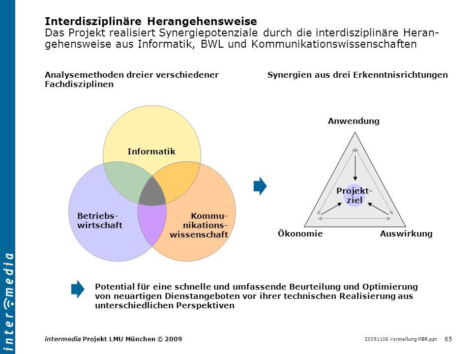 20091106 Vorstellung MBR.ppt 65 intermedia Projekt LMU München © 2009 Interdisziplinäre Herangehensweise Das Projekt realisiert Synergiepotenziale dur