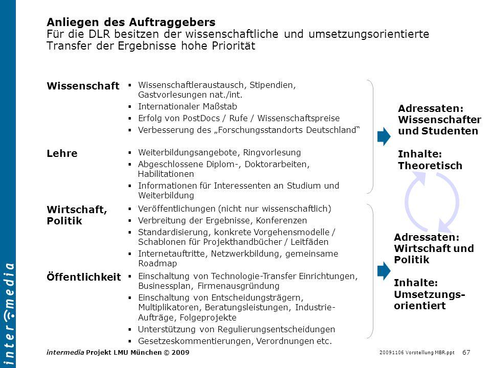 20091106 Vorstellung MBR.ppt 67 intermedia Projekt LMU München © 2009 Anliegen des Auftraggebers Für die DLR besitzen der wissenschaftliche und umsetz