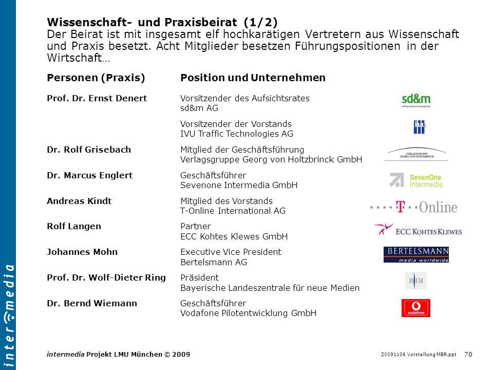 20091106 Vorstellung MBR.ppt 70 intermedia Projekt LMU München © 2009 Wissenschaft- und Praxisbeirat (1/2) Der Beirat ist mit insgesamt elf hochkaräti