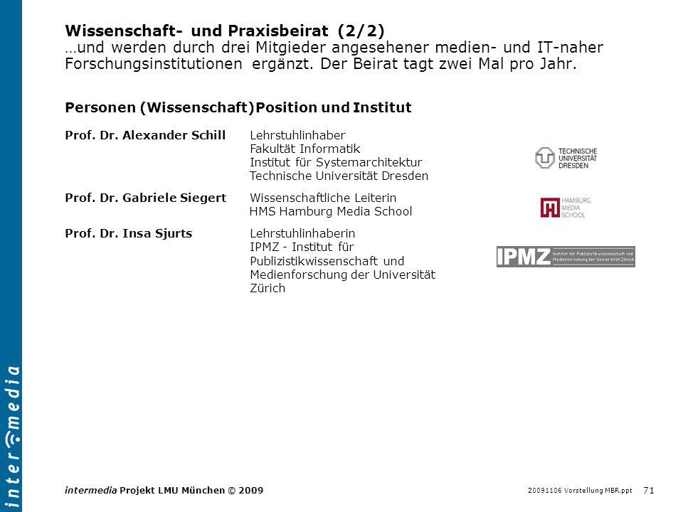 20091106 Vorstellung MBR.ppt 71 intermedia Projekt LMU München © 2009 Wissenschaft- und Praxisbeirat (2/2) …und werden durch drei Mitgieder angesehene
