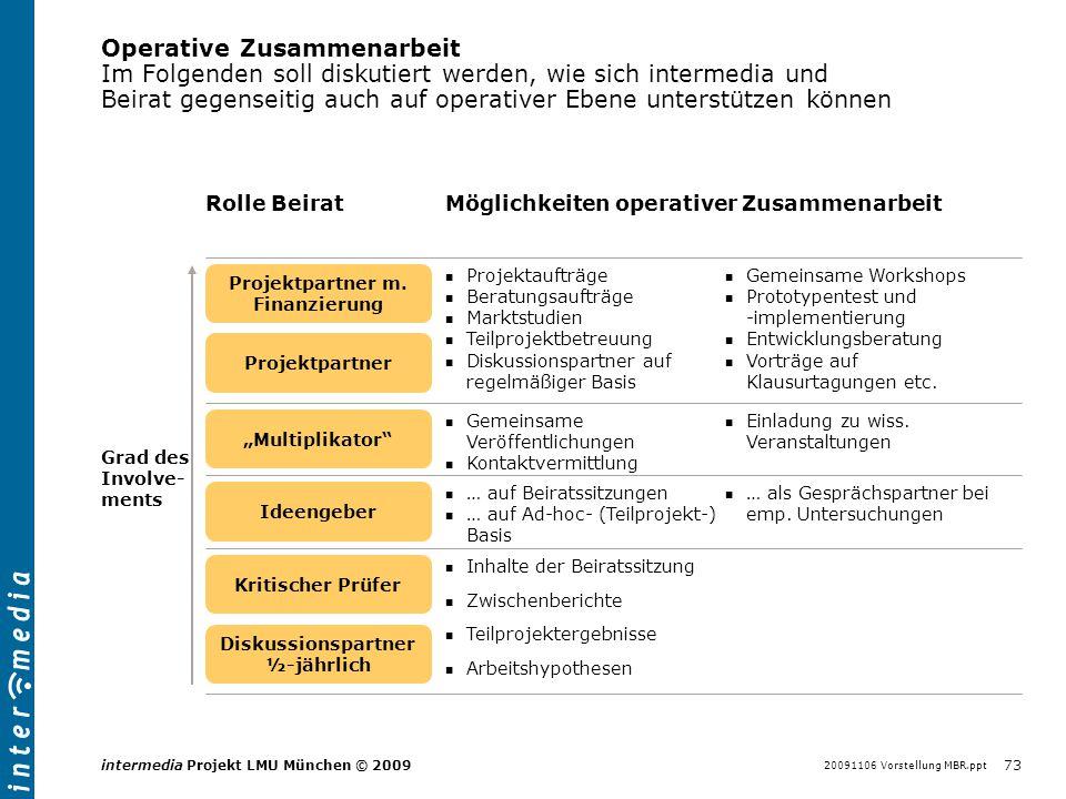 20091106 Vorstellung MBR.ppt 73 intermedia Projekt LMU München © 2009 Operative Zusammenarbeit Im Folgenden soll diskutiert werden, wie sich intermedi