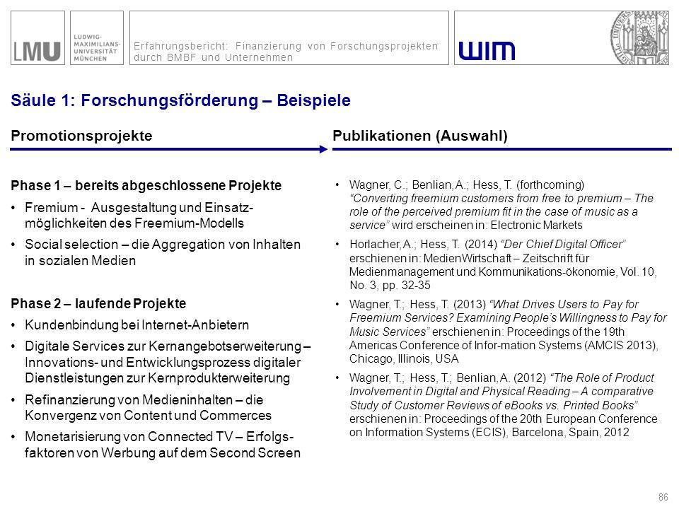 Erfahrungsbericht: Finanzierung von Forschungsprojekten durch BMBF und Unternehmen Säule 1: Forschungsförderung – Beispiele PromotionsprojektePublikat