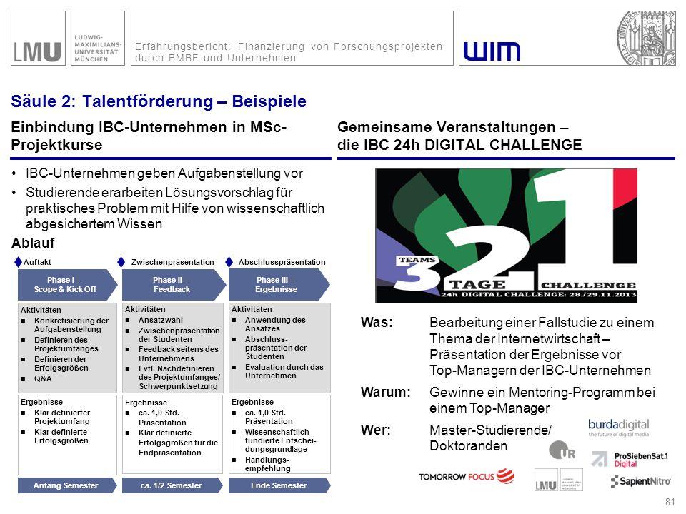 Erfahrungsbericht: Finanzierung von Forschungsprojekten durch BMBF und Unternehmen Säule 2: Talentförderung – Beispiele Einbindung IBC-Unternehmen in
