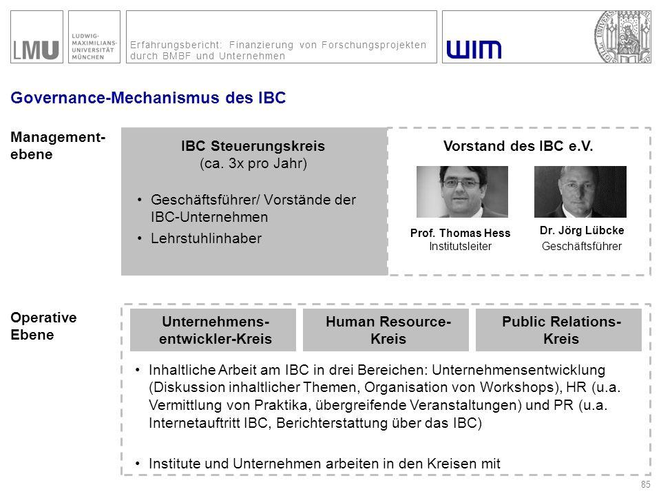 Erfahrungsbericht: Finanzierung von Forschungsprojekten durch BMBF und Unternehmen Governance-Mechanismus des IBC Management- ebene 85 Operative Ebene