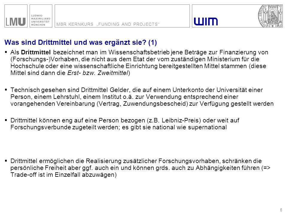 """MBR KERNKURS """"FUNDING AND PROJECTS 49 Formulare Quelle: DFG (Deutsche Forschungsgemeinschaft)"""