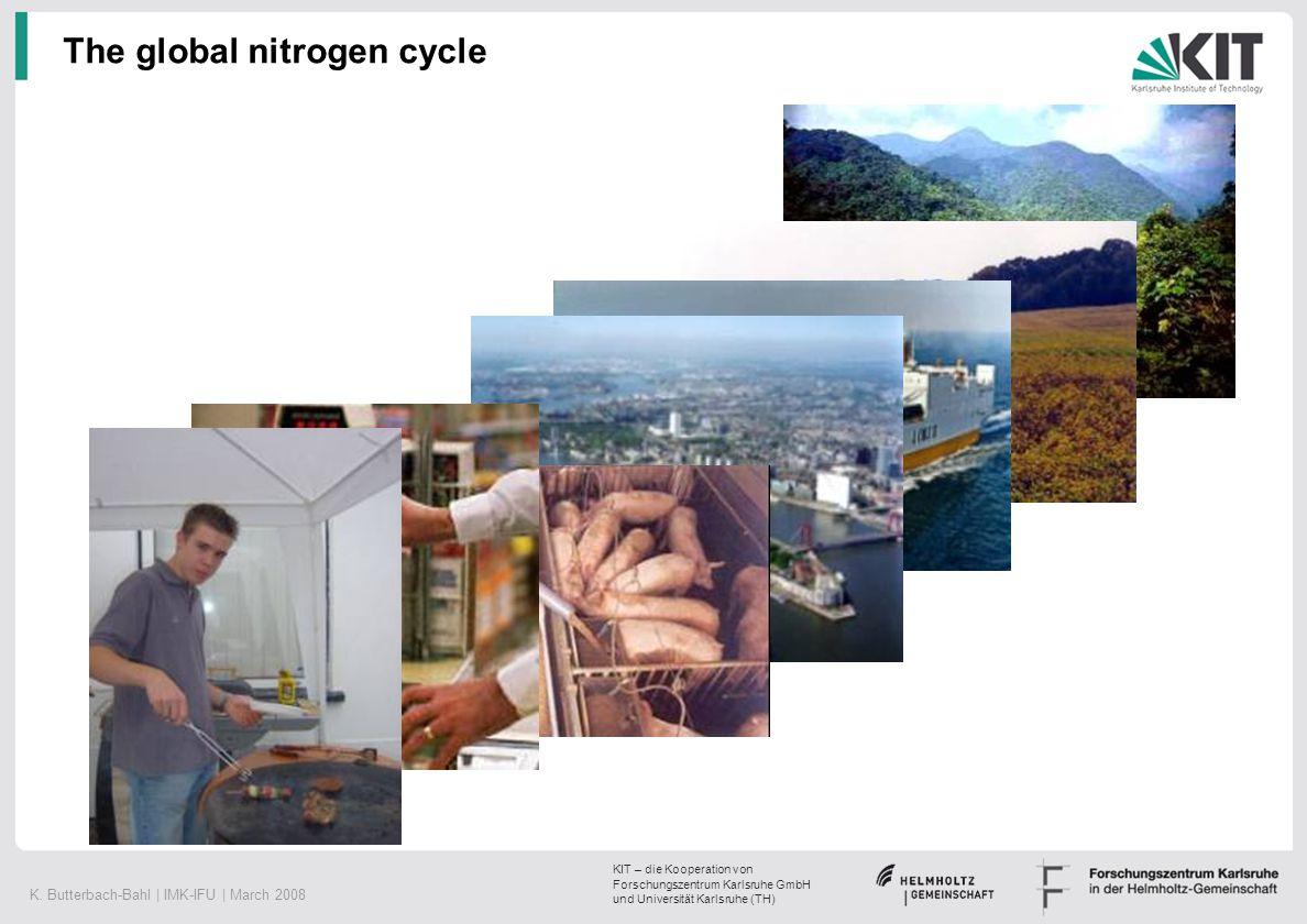 K. Butterbach-Bahl | IMK-IFU | March 2008 KIT – die Kooperation von Forschungszentrum Karlsruhe GmbH und Universität Karlsruhe (TH) The global nitroge
