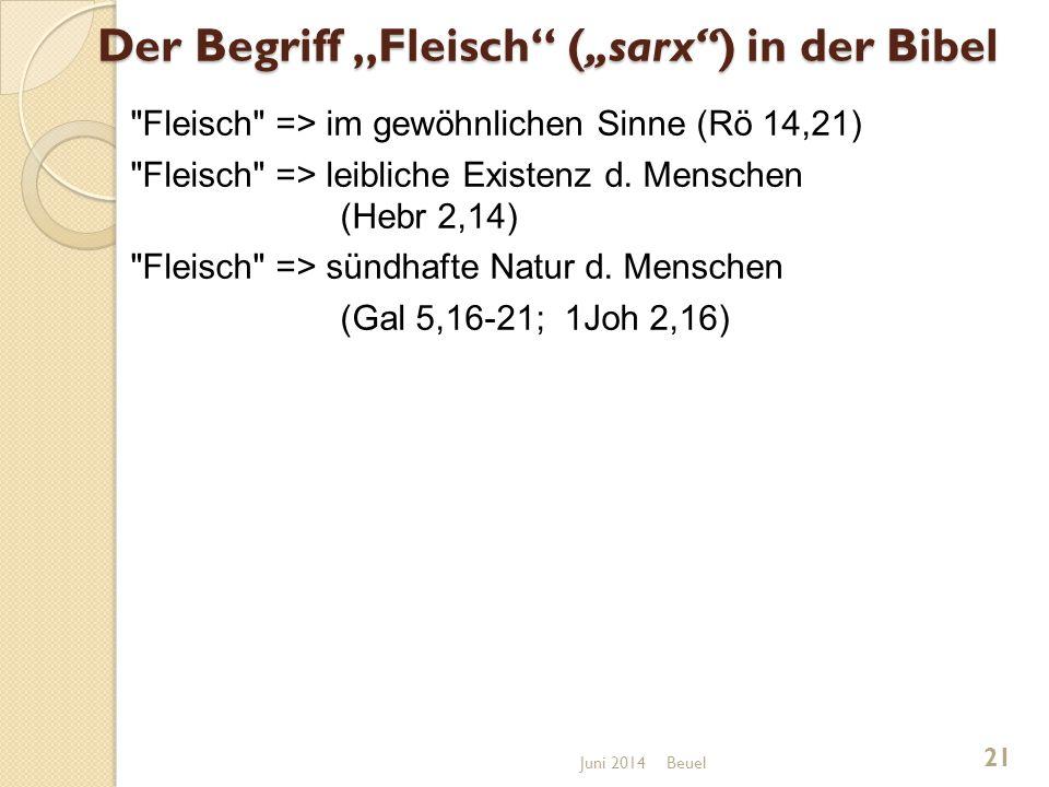 """Der Begriff """"Fleisch (""""sarx ) in der Bibel Fleisch => im gewöhnlichen Sinne (Rö 14,21) Fleisch => leibliche Existenz d."""