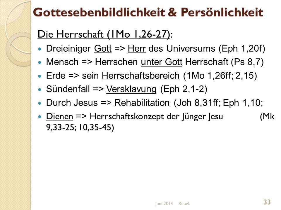 Gottesebenbildlichkeit & Persönlichkeit Die Herrschaft (1Mo 1,26-27): Dreieiniger Gott => Herr des Universums (Eph 1,20f) Mensch => Herrschen unter Gott Herrschaft (Ps 8,7) Erde => sein Herrschaftsbereich (1Mo 1,26ff; 2,15) Sündenfall => Versklavung (Eph 2,1-2) Durch Jesus => Rehabilitation (Joh 8,31ff; Eph 1,10; Dienen => Herrschaftskonzept der Jünger Jesu (Mk 9,33-25; 10,35-45) Beuel 33 Juni 2014