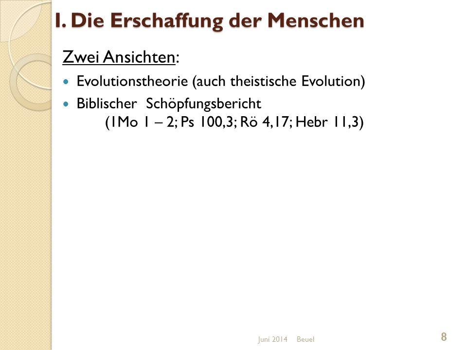 I. Die Erschaffung der Menschen Zwei Ansichten: Evolutionstheorie (auch theistische Evolution) Biblischer Schöpfungsbericht (1Mo 1 – 2; Ps 100,3; Rö 4