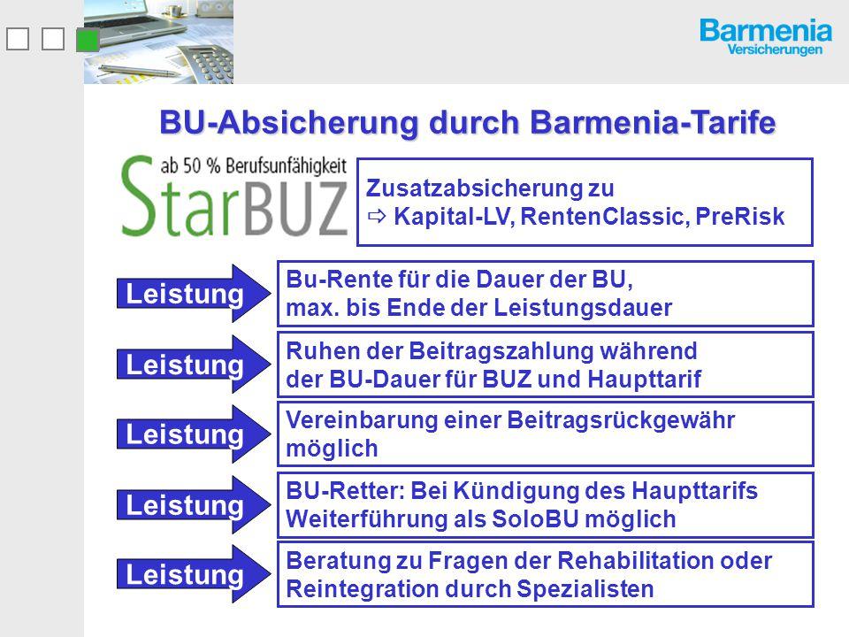 BU-Absicherung durch Barmenia-Tarife Bu-Rente für die Dauer der BU, max. bis Ende der Leistungsdauer Leistung Ruhen der Beitragszahlung während der BU