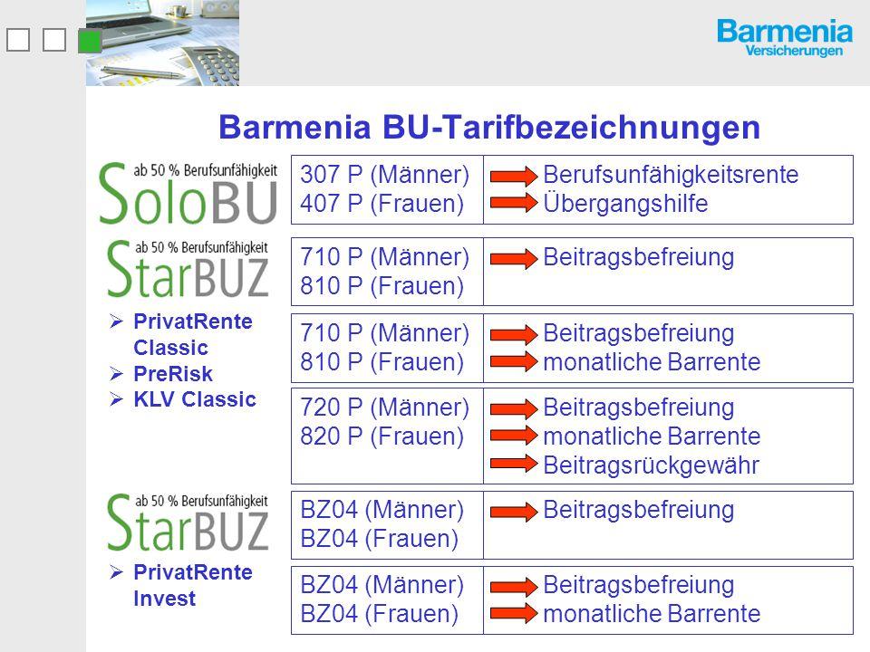 Barmenia BU-Tarifbezeichnungen Berufsunfähigkeitsrente Übergangshilfe 307 P (Männer) 407 P (Frauen) Beitragsbefreiung monatliche Barrente 710 P (Männe