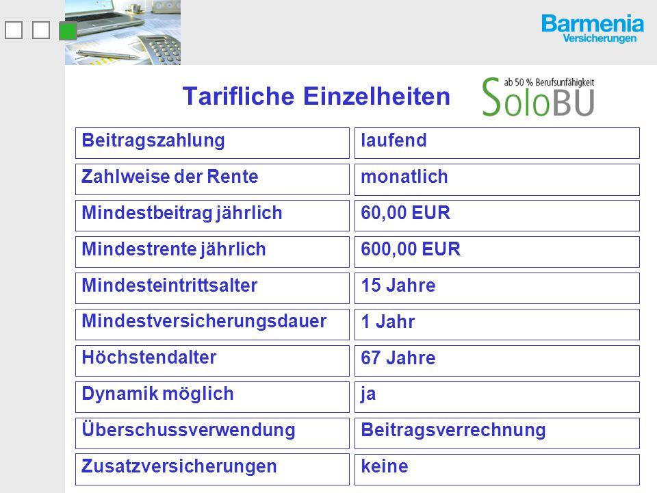 Tarifliche Einzelheiten laufend Beitragszahlung monatlich Zahlweise der Rente 60,00 EUR Mindestbeitrag jährlich 600,00 EUR Mindestrente jährlich 15 Ja
