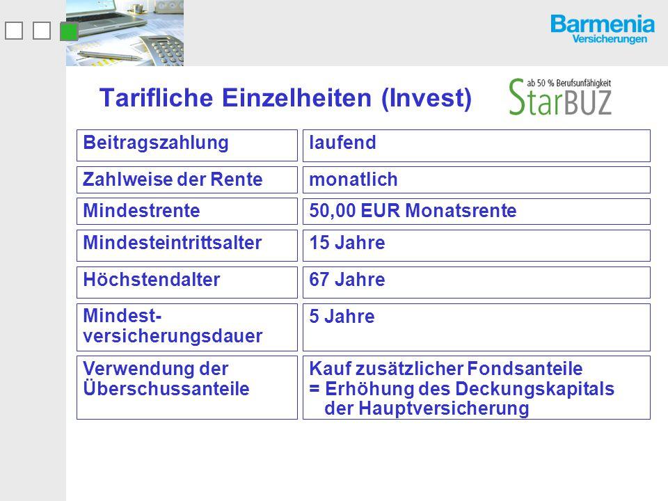 Tarifliche Einzelheiten (Invest) laufend Beitragszahlung monatlichZahlweise der Rente 50,00 EUR Monatsrente Mindestrente 15 Jahre Mindesteintrittsalte