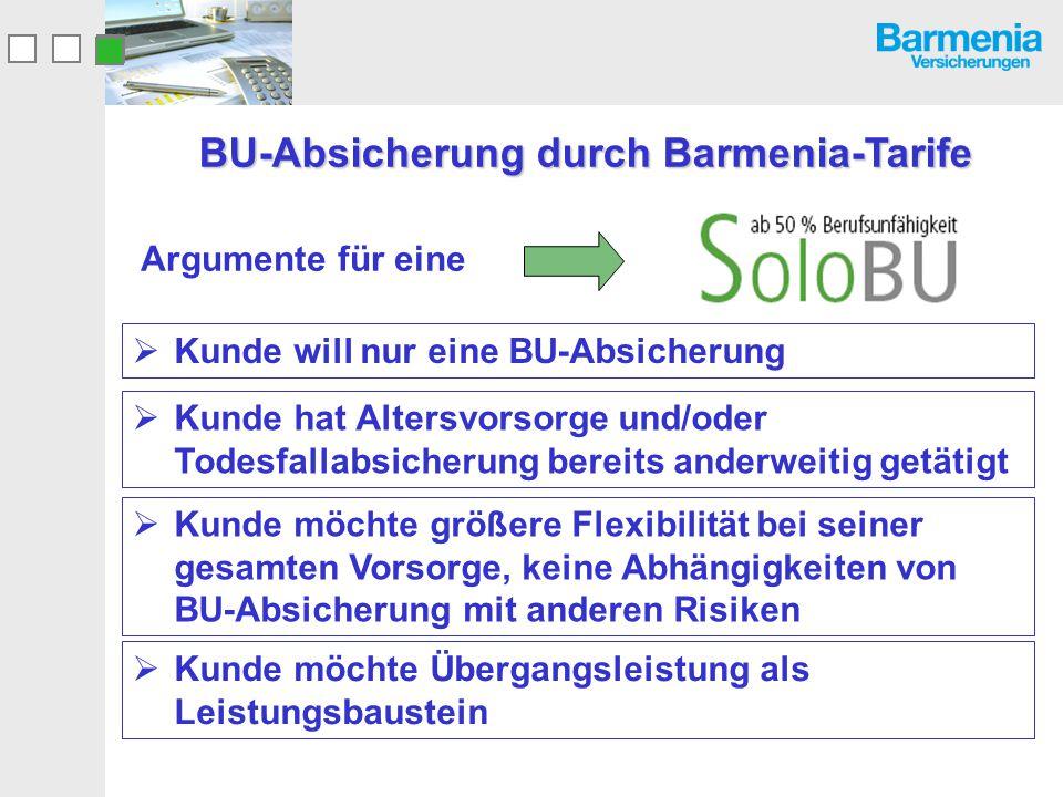 BU-Absicherung durch Barmenia-Tarife Argumente für eine  Kunde will nur eine BU-Absicherung  Kunde hat Altersvorsorge und/oder Todesfallabsicherung