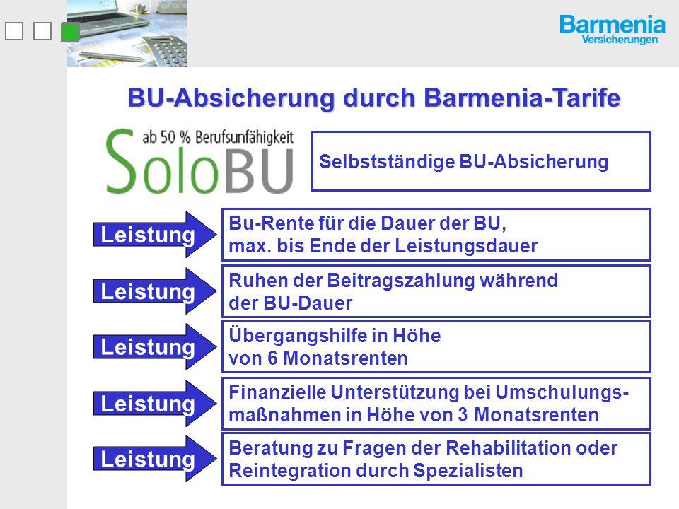 BU-Absicherung durch Barmenia-Tarife Selbstständige BU-Absicherung Bu-Rente für die Dauer der BU, max. bis Ende der Leistungsdauer Leistung Ruhen der