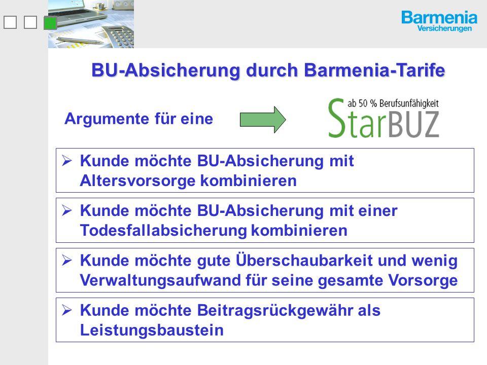 Bedingungs-Highlights Zusätzliche Sicherheit Leistungsgarantie bei Kombination von SoloBU oder StarBUZ mit einer Krankentagegeld- Versicherung bei der Barmenia