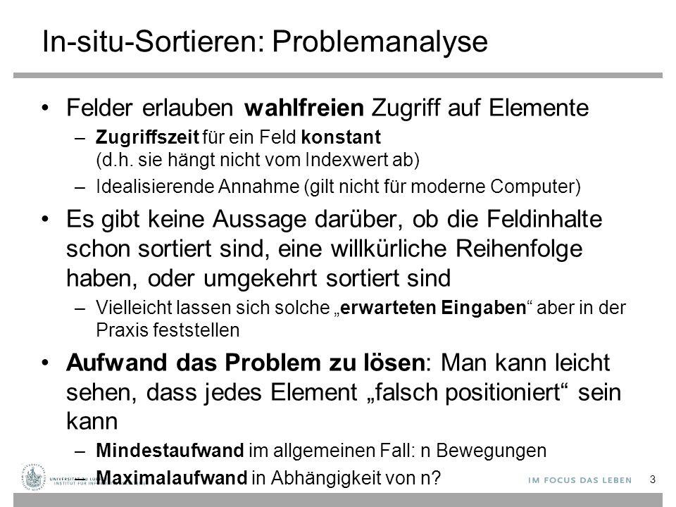 """Aufwand zur Lösung eines Problems Gegeben ein Problem (hier: In-situ-Sortierproblem) –Damit verbundene Fragen: Wie """"langsam muss ein Algorithmus sein, damit alle möglichen Probleminstanzen korrekt gelöst werden."""
