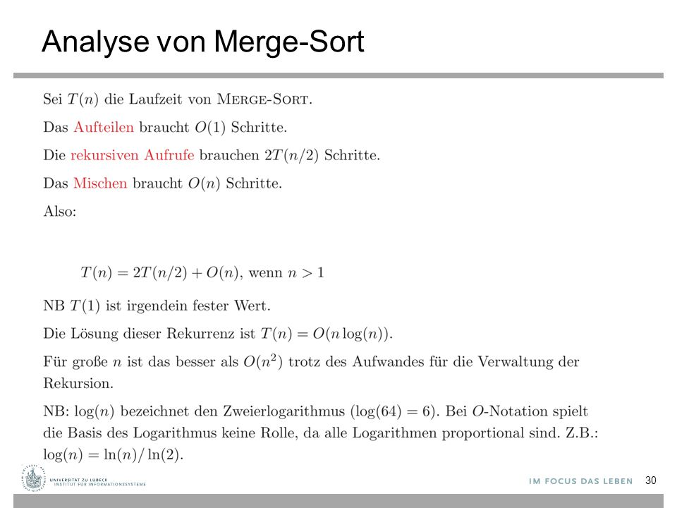 Analyse von Merge-Sort 30