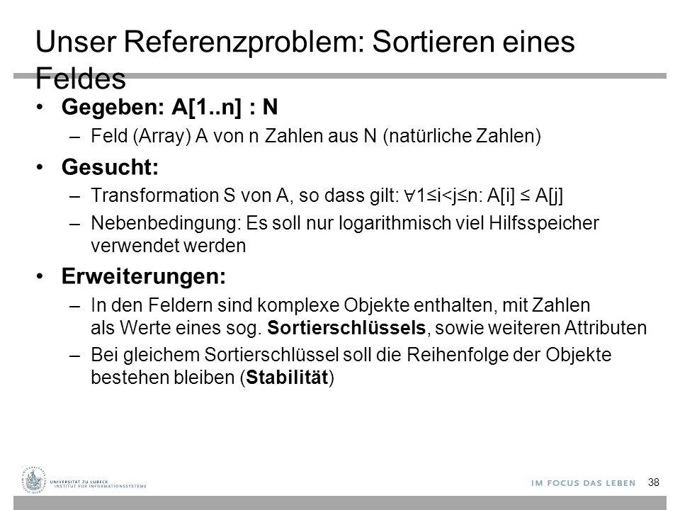 Wiederholung: Quicksort (Teile-und- Herrsche) 39 A http://www-tcs.cs.uni-sb.de/course/60/ C.